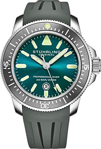 Reloj de Cuarzo Stuhrling Original Analog Pro Dive para Hombre con Banda de Goma 935