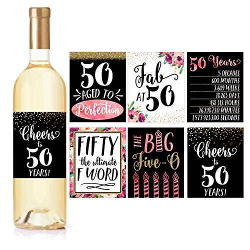 6 50th Birthday Wine Bottle Labels or Stickers Present, 1969 Bday Milestone Gifts For Her Women, Cheers to 50 Years, Funny Fifty Pink Black Gold Party Decorations Supplies For Friend, Wife, Girl, Mom