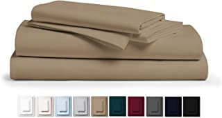 """Kemberly Home Collection 800 Thread Count 100% Pure Egyptian Cotton – Sateen Weave Premium Bed Sheets, 4- Piece Taupe Queen- Size Luxury Sheet Set, Fits mattresses Upto 18"""" deep Pocket"""