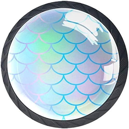4 Pack Round shipfree Cabinet Hardware Denver Mall Knob - Bright Mermaid Scale Fish 1