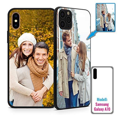 PixiPrints Foto-Handyhülle mit eigenem Bild kompatibel mit Samsung Galaxy A70, Hülle: TPU-Silikon in Schwarz, personalisiertes Premium-Case selbst gestalten mit flexiblem Druck