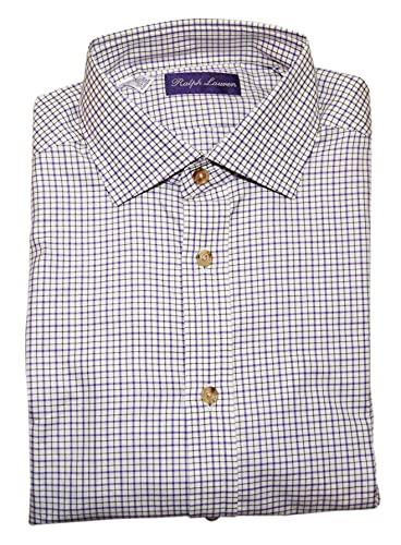 Ralph Lauren Polo Purple Label Mens White Black Check Dress Shirt Italy XL $450
