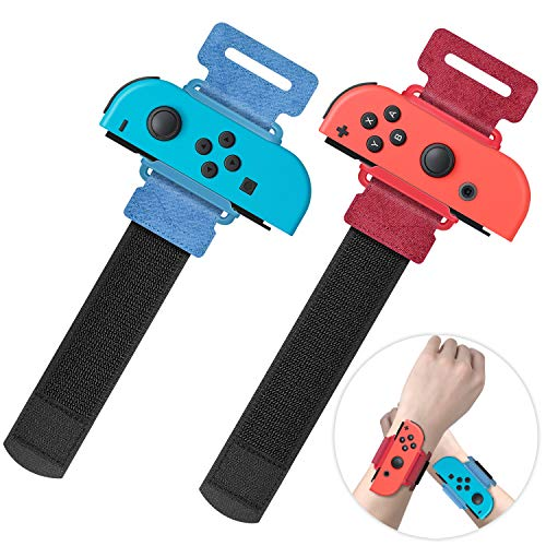 Upgraded Wrist Bands Compatible with Just Dance 2021 2020 Switch, YUANHOT Adjustable Elastic Dance Straps Compatible with Switch Controllers, 2 Pack for Kids and Adults - Red Blue