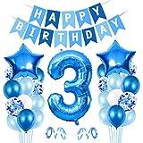 3er Cumpleaños Bebe Globos Decoracion, Globos Numeros 3 Decoracion, 3 año Cumpleaños Decoración Niño, Globos de Confeti de Latex Boy Ballon Party Cumpleaños 3 Año