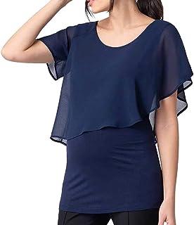 Women's Maternity Nursing Top Pregnancy Shirt Tee Shirt Double Layer Short Sleeve Breastfeeding Blouse