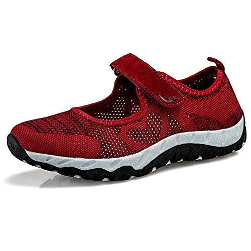 TOT Orthopädische Ödemschuhe für Frauen Älterer Plantarfasziitis-Schuh mit atmungsaktivem Netz und Rutschfester 3D-Sauger-Sohle für Schwangere, breite, geschwollene Füße,Rot,38