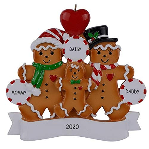 Personalized Gingerbread Christmas Family Ornament (Family of 3)