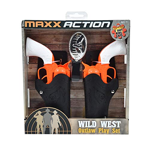 Sunny Days Entertainment Wild West Outlaw Play Set – 5 Piece Orange Western Toy for Kids   Cowboy Sheriff Cap Pistol with Holster and Adjustable Belt   Ring Caps Sold Separately