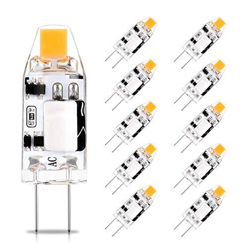 G4 LED Warmweiß 2700K, 12V AC/DC, 1,2W G4 LED Lamp Birnen Glühbirne Ersatz für 10W Halogenlampen, 360° Abstrahlwinkel Glühbirnen Kein Flimmern, Nicht Dimmbar, CRI>82, 140LM, 10er Pack,CHEERBEE