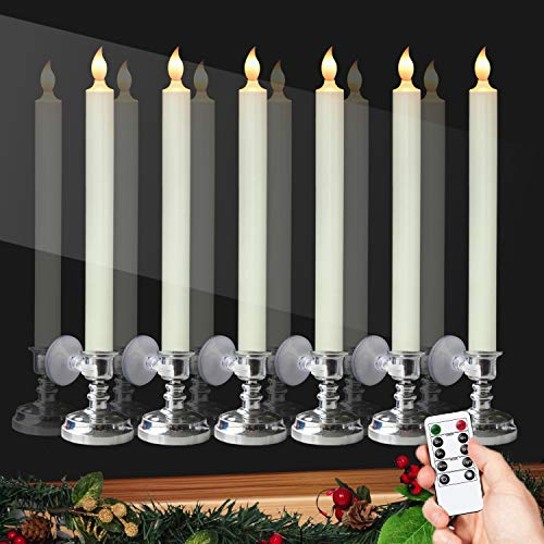 DRomance Flameless Window Candles with Remote and Timer, Battery Operated LED Taper Candles with Suction Cups Set of 6 Christmas Window Candles(Silver Holders)