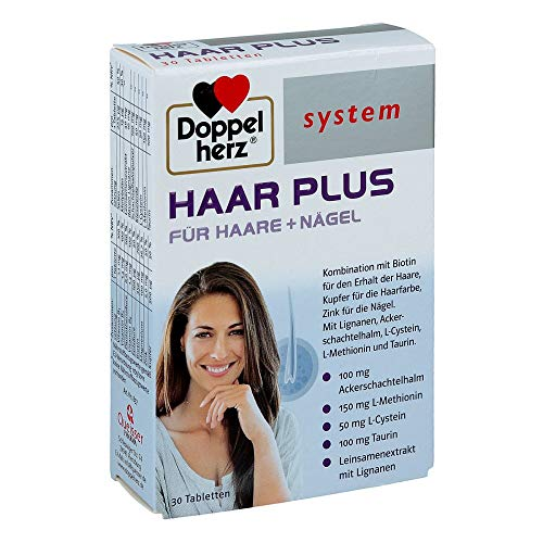 Doppelherz system HAAR PLUS – Mit Biotin als Beitrag für den Erhalt normaler Haare und Kupfer als Beitrag für den Erhalt der natürlichen Haarfarbe – 30 Tabletten