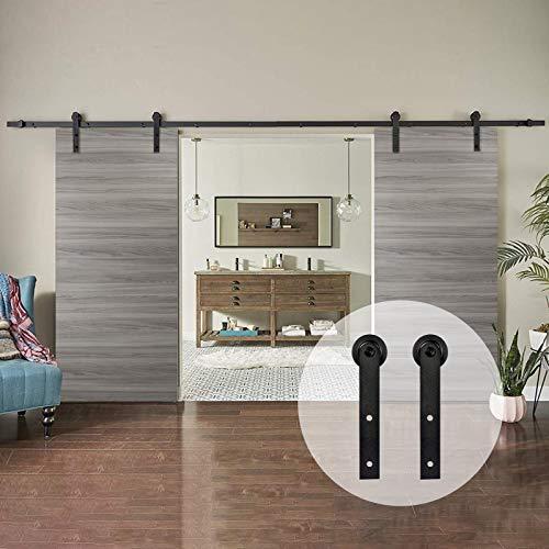 AMC Funiture - Kit de herrajes para puerta corredera de madera de granero de 5 pies suave y silencioso, fácil de instalar para puertas dobles (12 pies)