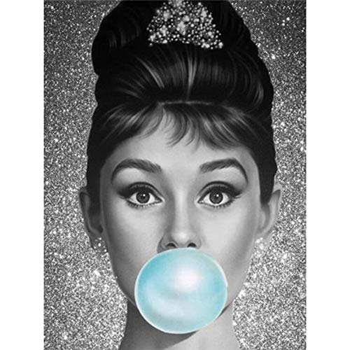5D Diamond Painting Full Round Drill DIY Diamond Painting Kits for Adults for Home Art Painting Decoration Audrey Hepburn Blowing Bubble Gum 11.8x15.7in 1 Pack by Cenda