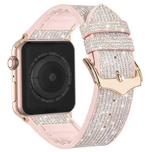 Compatible with Apple Watch Band 38mm 40mm 42mm 44mm, CTYBB Blingbling Sweatproof Genuine Leather and Silicone Band for iWatch SE Series 6 5 4 3 2 1, (Glitter Silver/Rose Gold, 38mm 40mm)