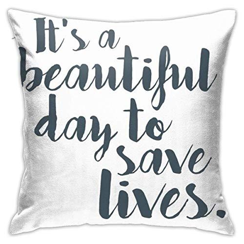 Lawenp Es un Hermoso día para Salvar Vidas Fundas de Cojines para el Dormitorio Sofá Decorativo para el hogar Funda de Almohada Cuadrada para sofá 18x18 Pulgadas