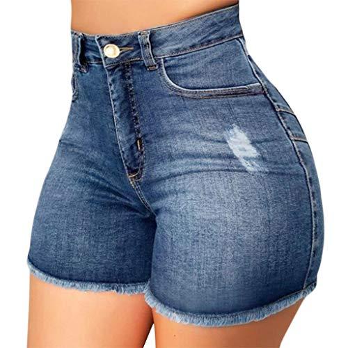 URIBAKY - Pantaloncini da donna in jeans strappati, a vita alta, pantaloni caldi, taglio slim, pantaloni da jogging, blu, XL
