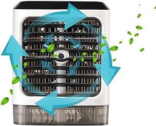 FFEM - Ventilador de escritorio portátil 3 en 1 con 3 velocidades, mini humidificador de aire acondicionado, purificador, refrigerador evaporativo con luz LED