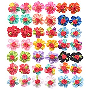 YAKA 40pcs/(20pairs) Hot Cute Small Dog Hair Bows Topknot Small Bowknot with Rubber Bands Pet Grooming Products Pet Hair Bows Hair Accessories 20 Colors (Round Flower)