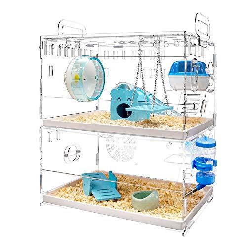 YOKITOMO ハムスターケージ フクロモモンガ ケージ 透明 トレーデザイン お掃除しやすい! 通気 2階デザイン 持ち運びやすい アクリル製 (青色)