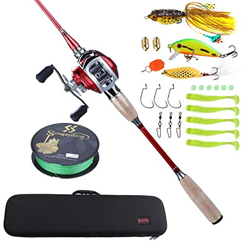 Sougayilang Fishing Baitcaster Combos, Lightweight Baitcasting Combo Fishing Rod and 11+1BB Fishing Reel Right Left Hand for Travel 4 Pieces Saltwater Freshwater-Left Hand/6.9FT with Carrier Bag