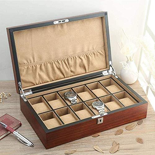 Caja de reloj grande de madera de la caja de almacenamiento, estante...