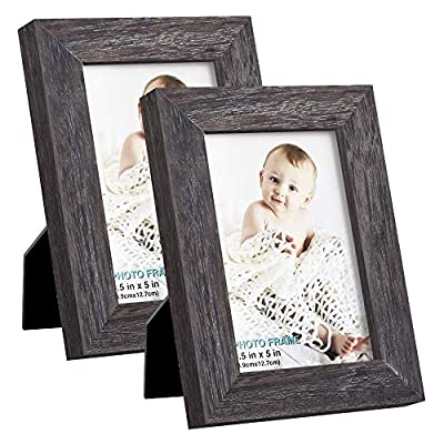 RPJC 3.5x5 Picture Frames (Set of 2) Made of Solid Wood High Definition Glass for Table Top Display and Wall Mounting Photo Frame Weathered Grey