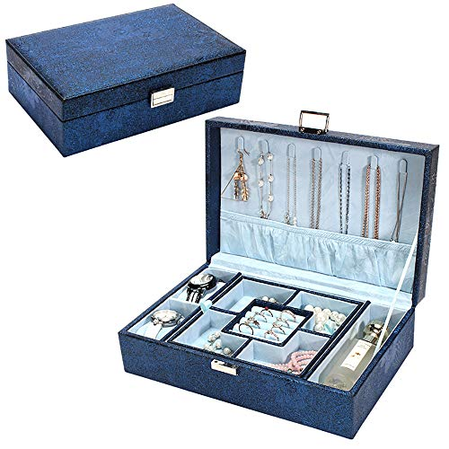 W-J-S Faux Leather Jewelry Box Organizer Stackable Jewelry Trays Removable Double-Layer Jewelry Box Flannel Rectangle Display Storage Necklace Bracelets(Color:Navy blue)