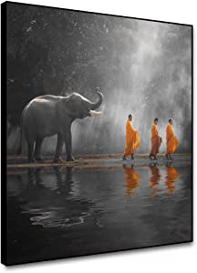 Yongto Black and White Zen Art Canvas Framed Painting Thai Elephant Walking in the Water Masters in Yellow Dress Modern Canvas Art Wall Decor Good Luck Elephant Artwork for Living Room 12x12 Inch