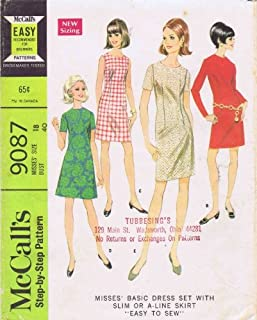 McCall's 9087 Misses Slim A-line Shift Dress Vintage Sewing Pattern Check Offers for Size