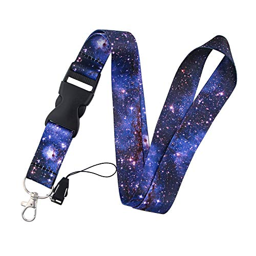 Nutural Nebula Starry Sky Blue Premium Lanyard for with Clip for Keys or id Badges