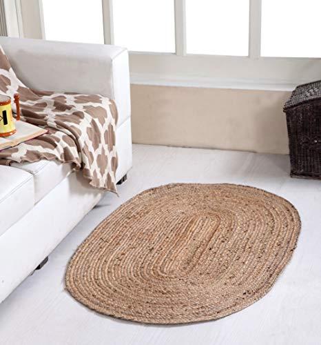 Second Nature Online Dhaka Oval geflochtener Teppich, handgewebt mit indischer Naturjute - 60 cm x 90 cm