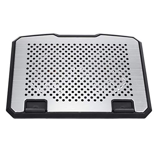 Mogzank Almohadilla de refrigeracion para Ordenador portatil 15 Pulgadas de Aluminio + plastico Altura Ajustable Ventilador Doble Almohadilla de refrigeracion