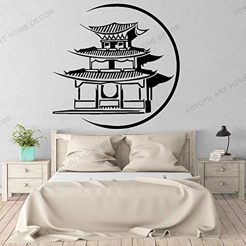 Dwzfme Adhesivos Pared Pegatinas de Pared Papel Pintado del Edificio japonés del Arte Pagoda Japón Arte asiático Vinilo Oriental Gran Horizonte de la Ciudad 58x57cm