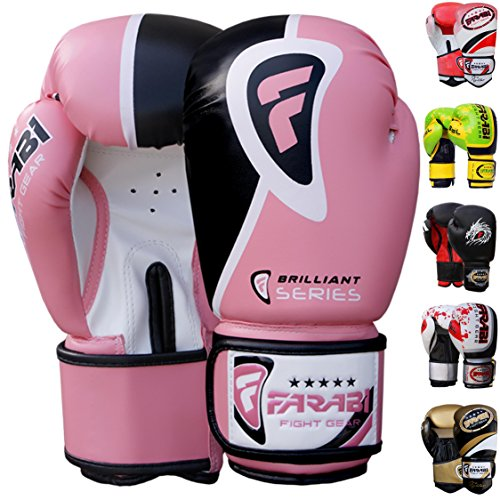Farabi Pro Fighter Boxhandschuhe Sparring Turnbeutel Stanz Focus Pad Pad, rose, 226,8 g (8 oz)