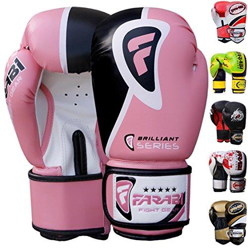 Guantes de boxeo Farabi de 10oz 12oz 14oz 16oz para hombre, guantes de boxeo para entrenamiento, sparring, saco de boxeo, Muay Thai y Kick Boxing, MMA, artes marciales, color rosa, tamaño 45,5 cl