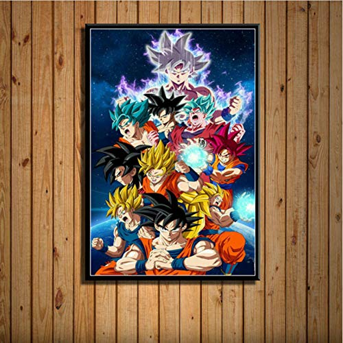 zpbzambm Frameless Painting 50X70Cm Dragon Ball Super Goku Ultra Instinct Japan Anime Art Painting Canvas Poster Wall Home Decoration Artwork,Aq-2130