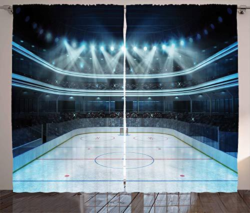 ABAKUHAUS Eishockey Rustikaler Vorhang, Sport Arena Foto Fans, Wohnzimmer Universalband Gardinen mit Schlaufen und Haken, 280 x 175 cm, Blau Weiß