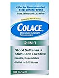 Colace 2-in-1 Stool Softener & Stimulant Laxative Tablets, 60 Count, Gentle Constipation Relief in 6-12 Hours