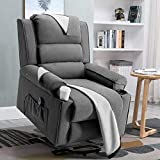 Vitesse Electric Power Lift Recliner Chair Sofa PU Leather Home Recliner for Elderly Classic Lounge Chair with 2 Cup Holders, 4 Removable Cloth Mats Reclining Mechanism