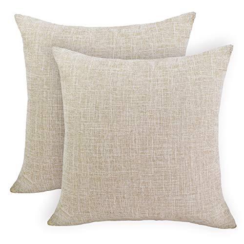 IVYSHION – Juego de 2 fundas de cojín de algodón y lino para sofá, decoración de casa, decoración clásica, funda de cojín para casa, salón, dormitorio, algodón, beige, 40*40CM