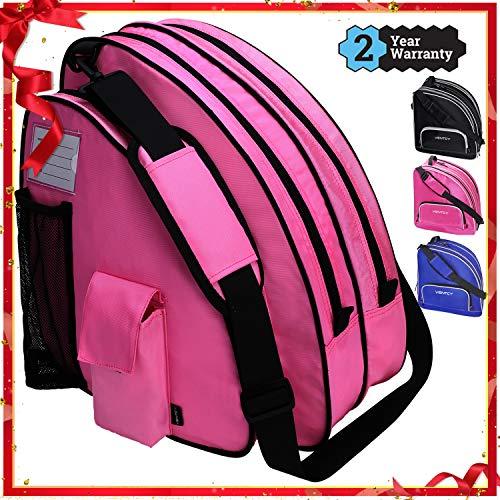 VENTCY Skischuhtasche Schlittschuhe Tasche Tasche Schlittschuhe Eislauf Rollschuhetasche Kinder Skifahren Nylon Rollschuhe Tasche mit Rucksackfunktion Wasserabweisend Pink
