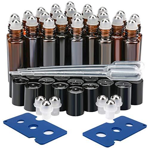 EEIEER etherische olie Roller flessen 10ml glas Roll-On navulbare container voor Aromatherapie met flesopener en glas Dropper, ideaal voor thuis en op reis (24 Pack)