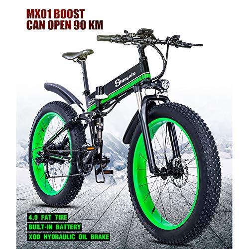 LIU Bicicletta elettrica grassa da 1000 W. 48V Mens Mountain E Bike 21 velocità Pedali Fat Bike da 26 Pollici per Bici da Strada (Batteria al Litio Rimovibile)
