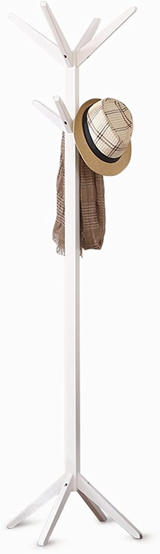 TIANTA- Solid Wood Floor Coat Rack Simple Bedroom Hanger Single-Legged Coat Rack Home Furnishing (color   White)
