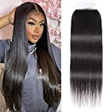 UNice Hair HD 5x5 Lace Closure Deep Parting Peruvian Straight Hair Invisible Knots, 100% Human Hair Transparent Lace Closure Pre Plucked Natural Color 18inch