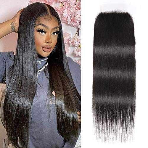 UNice Hair HD 5x5 Lace Closure Deep Parting Peruvian Straight Hair Invisible Knots, 100% Human Hair Transparent Lace Closure Pre Plucked Natural Color 14inch