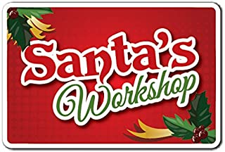 SANTA'S WORKSHOP Sign santa christmas season presents holiday   Indoor/Outdoor   14