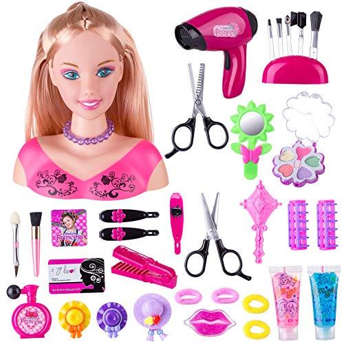 HENG Schminke Puppenkopf, 34Stk Styling Kopf Puppe Frisur Spielzeug Kosmetik Spielzeug mit Haartrockner für Kinder