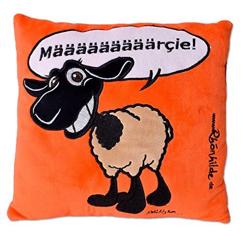 TE-Trend Kissen Rechteckig Zierkissen Sofakissen Spruchkissen Schaf Sheep Kuschelkissen Plüschkissen Orange 35x32cm