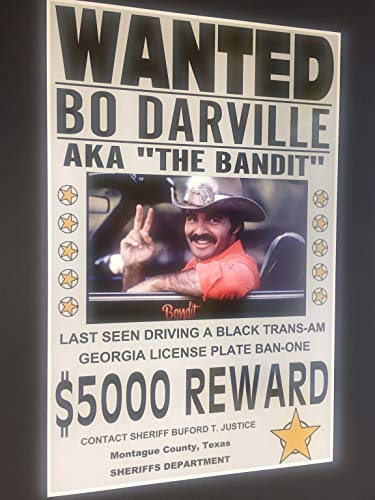 SMOKEY & THE BANDIT WANTED POSTER 11 X 17 BURT REYNOLDS TRANS AM HOT ROD MUSCLE CAR BAN ONE BAN-ONE MOVIE MAN CAVE BAR GARAGE SHOP RESTAURANT HOME OFFICE COLLECTION NOVELTY PRINT SIGN WALL ART GIFT